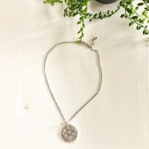 "Sterling Silver chain with CZ round charm 16"" 18"""
